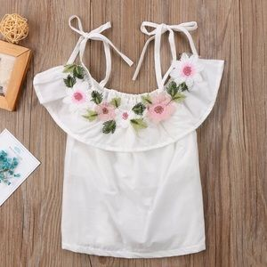 Other - Girls White Floral Wide Neck Linen Spring Top
